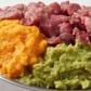 Rind, pürierter Brokkoli, pürierter Kürbis, optional gekochte und pürierte Süßkartoffel
