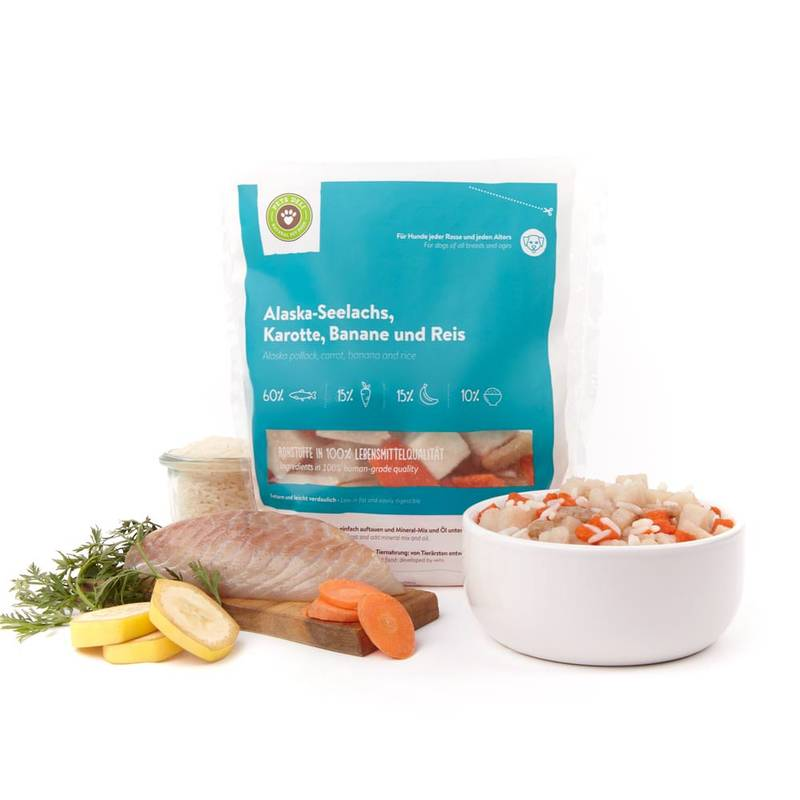 Frische-Menü Alaska-Seelachs mit Karotte & Banane für Hunde_2